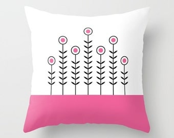 36 colours, Hot Pink, SPRING SHOOTS Minimalist Flowers Pattern Pillow, Scandinavian style, Faux Down Insert, Indoor or Outdoor