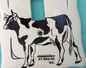 Cow Switch Plate - CV Reeve - 1982 - Ceramic - Home Decor -finishing touch