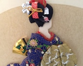 Geisha Girl - Vintage Asian Decor - Japanese Art - Paper Kimono - Made in Japan - 70s - Home Decor - padded collage - ready to frame