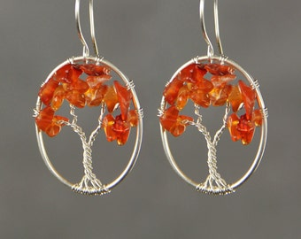 Sterling silver carnelian wiring oval tree of life hoop earrings  Bridesmaid gifts Free US Shipping handmade Anni designs
