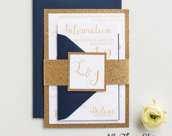 Navy wedding invitations with glitter, Wedding Invitations, Glitter Wedding Invitation suite, Glitter Wedding Invites, Any Color, Laura
