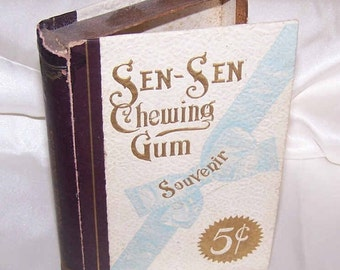 C.1900 EDWARDIAN Sen Sen Chewing Gum Box - Empty - Great Graphics