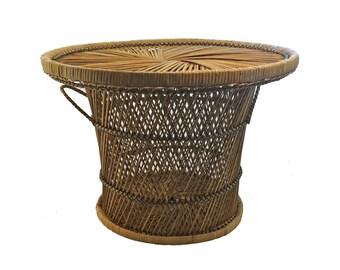 Vintage Rattan Table, Rattan Basket Table, Coffee Table
