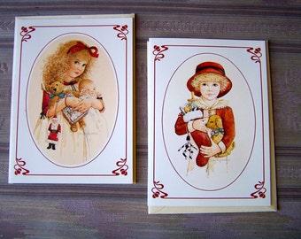 "Vintage 80's  of  ""JAN HAGARA""  2 Christmas Cards  Romantic Americana Look"