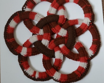 Vintage Circles Handmade Crochet Knit Trivet Circular Brown 1970s Kitchen Table Mat