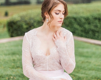 Savannah Top - Wedding Separate - Long Sleeve Lace Wedding Dress - Lace V Neck Top  - Plunge Neck Wedding Dress