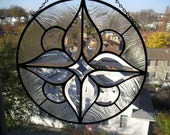 Stained Glass Art Panel|Clear Beveled Glass Panel|Round Beveled Glass Panel|Light and Elegant|Stained Glass Panel|Handcrafted|Made in USA