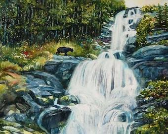 Watercolor ORIGINAL - Toba - Toba Inlet, British Columbia, Canada, waterfall, forest, bear, wilderness