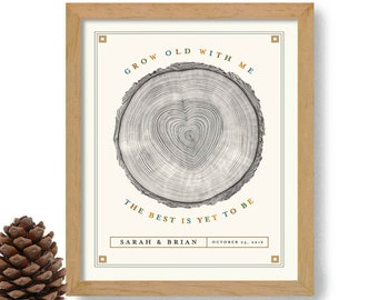 Tree Rings Personalized Wedding Gift Rustic Decor Grow Old With Me Loves to Camp Love Tree Outdoor Lover Backpacking Canoe Hiking Wilderness