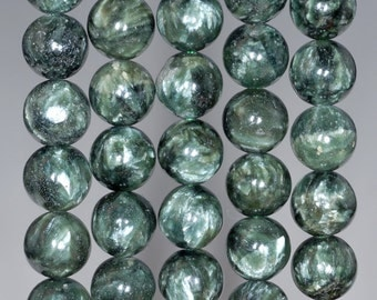 7mm Russian Seraphinite Gemstone Grade A Green Round Loose Beads 7 inch Half Strand (80001721-123)