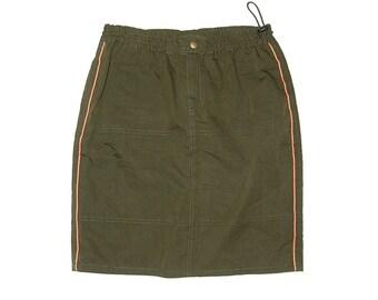 Military Green Orange Lining Skirt