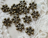 7 mm Antique Bronze  Beaded rondelle daisy spacer beads zinc alloy (.msn)