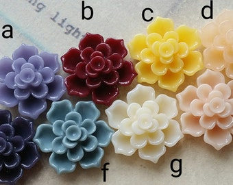 16 mm Assorted Colour Lotus Resin Flower Cabochons (.sa)(zzb)