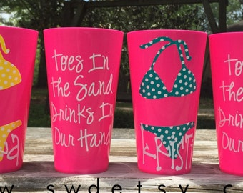 Toes in the Sand Drinks in our Hand tumblers, Bachelorette Party, Bridesmaids, Polka Dot Bikini, Beach Bachelorette, Set of 4
