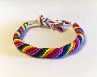 Rainbow Spiral Cylinder Friendship Bracelet