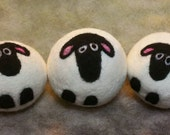 3 Wool Dryer Balls, Sheep, Black & White, Set of 3, Eco Friendly, Natural, Farm Animals