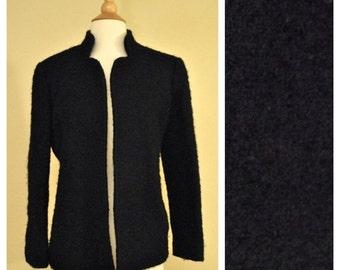 ON SALE Black Short Wool Knit Jacket Coat - Fully Lined - Size Medium Large - 40s 50s 60s Mod Style Winter Jacket