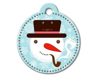 SALE Christmas Holiday Snowman Pet Tag - Dog Tags for Dogs - Custom Dog Tag for Pets, Personalized Cute Dog ID Tag, Sizes Small & Large