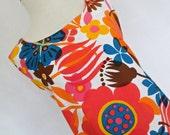 SALE :) HAWAII HALE Aloha . Tropical Babydoll . S . Bold Loud Cotton Mix Print Mini Trapeze Dress 1960s 60s Honolulu