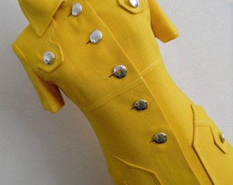 21% OFF :) FRANCE . Sunshine Sailor . Beautiful Yellow Mod Midi Dress . 1960s 60s Space Large Silver Buttons S Xs Scooter Stewardess Modette
