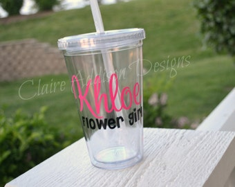 Personalized Acrylic Tumblers - Flower Girl, Bride to Be, Weddings, Engagement, Bachelorette, Bridesmaids, Groomsman, Mother of the Bride