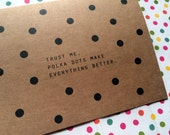 Polka Dot Greeting Card - Kraft Cardstock Cards - Greeting Card - Friendship Card - Valentines Card