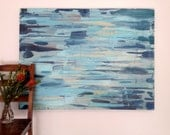 Textural Blue Abstract Canvas Painting - Portland, Oregon