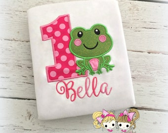 Frog birthday shirt - 1st birthday shirt with frog- girls birthday shirt- little frog shirt- embroidered frog shirt- personalized frog shirt