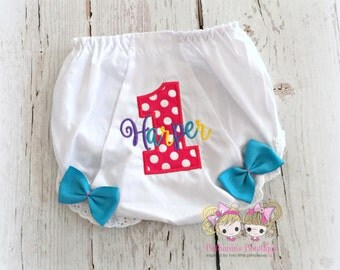 Birthday Diaper Cover- Bloomers- Pink Polka Dot Birthday Number with rainbow name- Custom embroidery