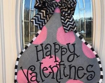 Valentine's Kiss Burlap Door Hanger Burlap Door Hanger Kiss Door Hanger