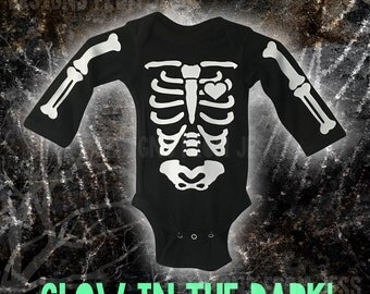 Glow in the dark baby skeleton onesie  - Skeleton Onesie Long Sleeve or Short Sleeve