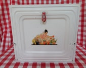 Pie Safe -- Bread Box -- 1930's -- White With Decal Lady With Flower Pots