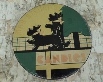 "Vintage Scottie Dog Tin -- Mrs Stevens Candies Tin -- Vintage Tin Box -- 10 1/2"""