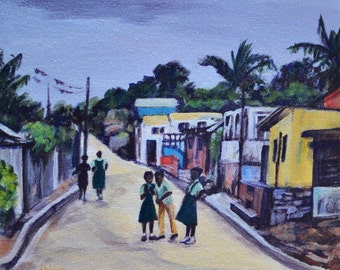 Heading Home - Caribbean Children - Ethnic Art -  Impressionist Painting - Antigua