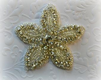 Rhinestone Flower Applique. Rhinestone Beaded Applique. Sparkly Bridal Applique. 1 Piece.