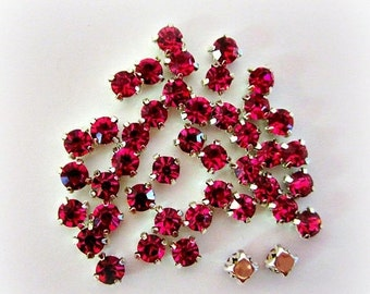 Sale 4mm Dark Pink Sew on Rhinestones.   100 Pcs