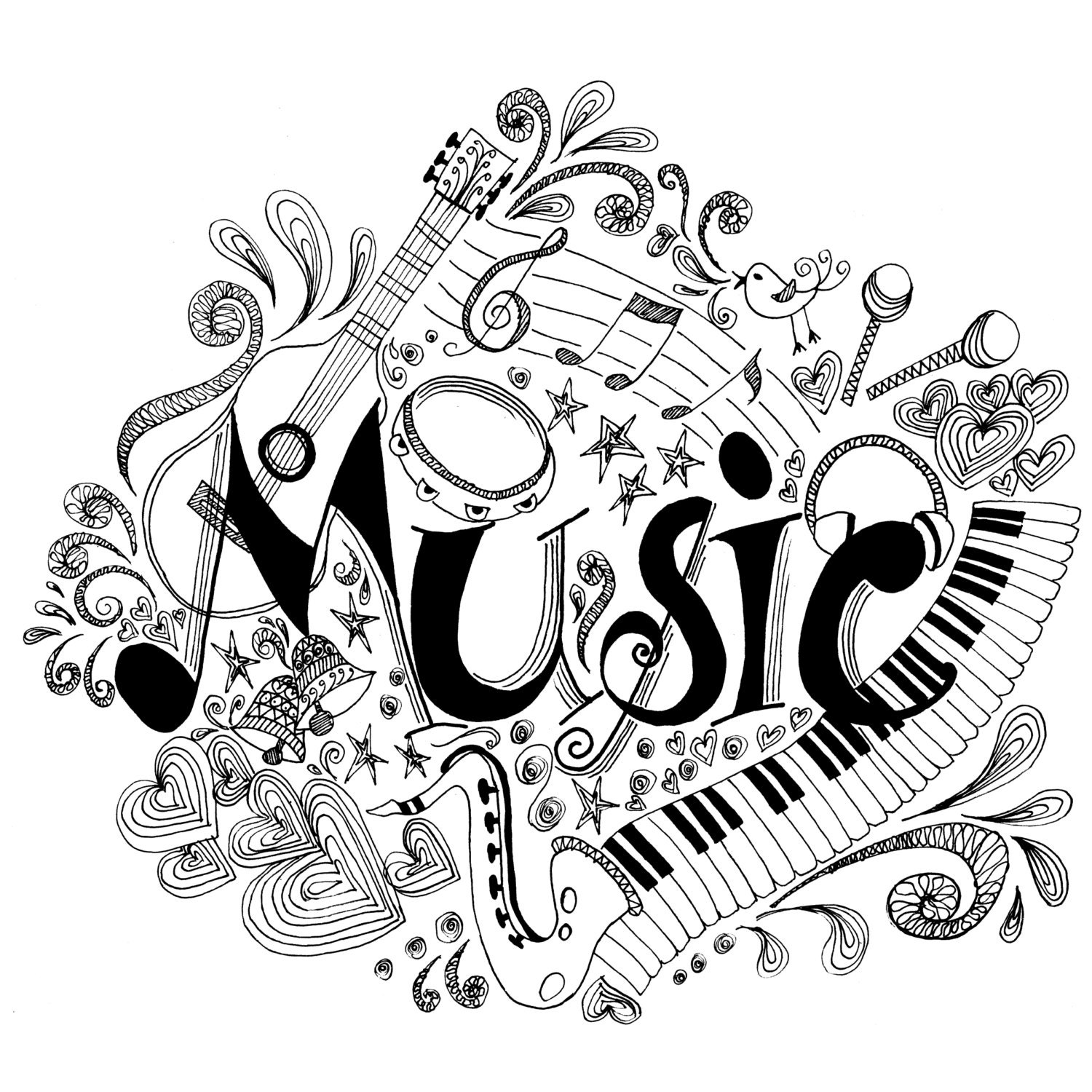 Printable coloring page zentangle music coloring book for Coloring pages of music