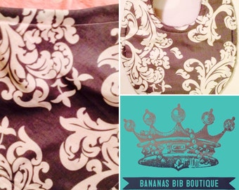 Baby Bib or Bandana bib in Grey Damask and you choose style and minky color