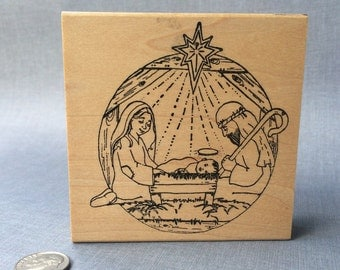 Nativity Scene Rubber Stamp