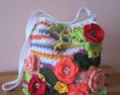ON SALE - 10% OFF Crochet flowers pouch...Handmade art bag...