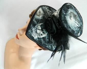 Minihat bw creepy bats skulls Gothic Mini Tophat Fascinator Headpiece Edwardian Civil war Steampunk Victorian Ladies Hat gown bridal