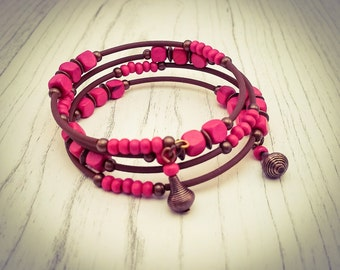 Hot Pink Wooden Bead and Copper Memory Wire Wrap Bohemian Festival Cuff Bracelet - [B12]