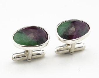 Natural Ruby Zoisite Cufflnks - Sterling Silver (925)