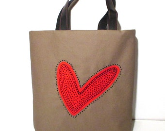 Red heart with beads fashionable canvas tote bag, Eco friendly, handmade appliqued,shopper,carry all