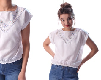 White MEXICAN Top 70s Mexico Hand Embroidered Traditional Retro Hippie Crop Top Shirt Festival Vintage Ethnic Styretchy Cropped Waist Small