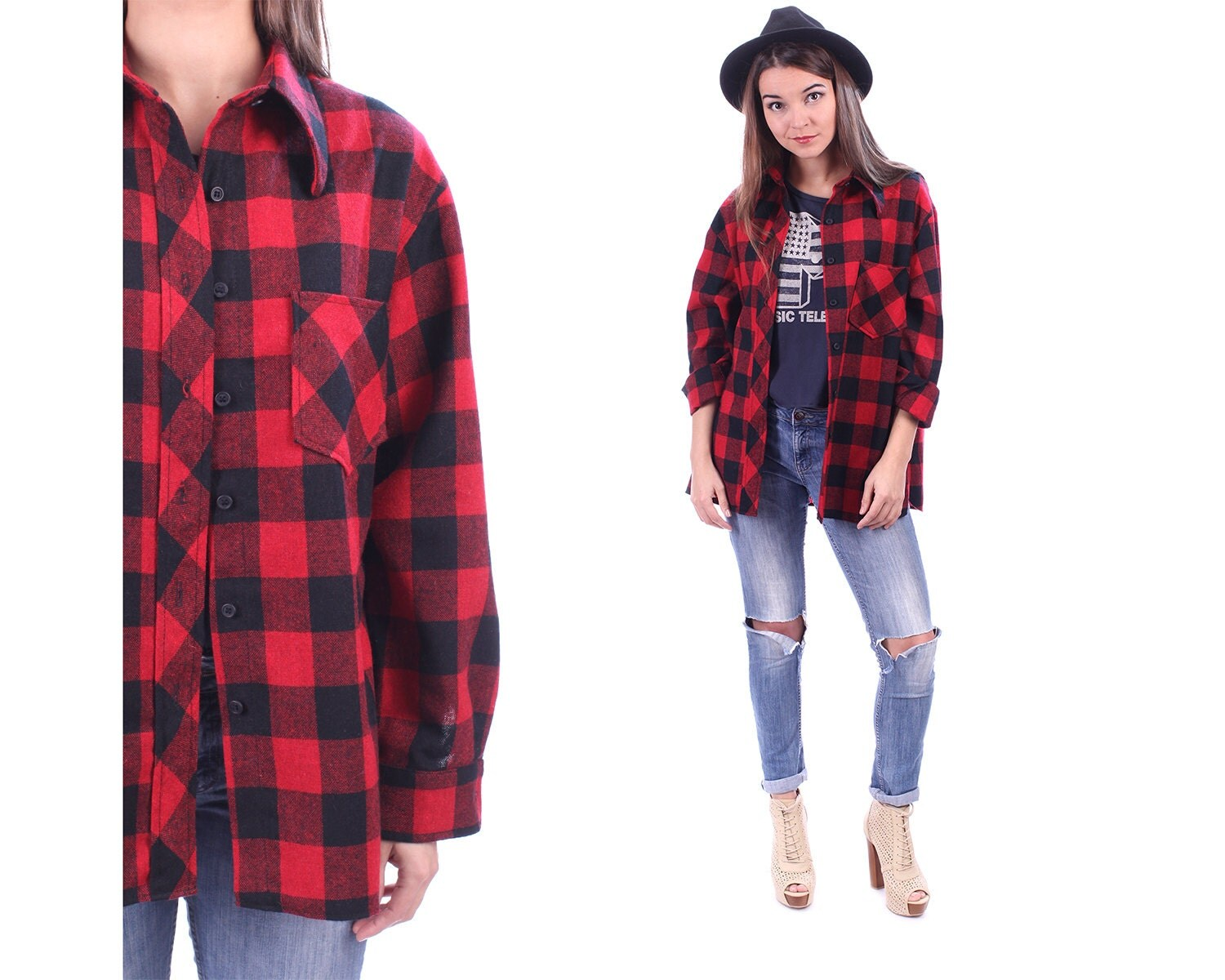 Buffalo plaid flannel wool mens shirt 70s grunge red black for Red black and white flannel shirt