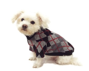 Black and Gray Argyle Dog Sweater-Argyle Dog Sweater-Dog Sweaters-Dog Clothes-Dog Clothing-Dog Apparel- Shirts for Dogs-Dog Shirts
