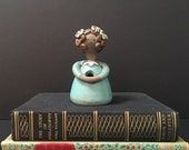 Swedish Ceramic Flower Girl Bud Vase Scandinavian Mid Century Figurine Figural