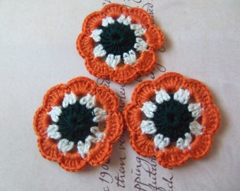 Set of Six Crochet Flower Appliques.