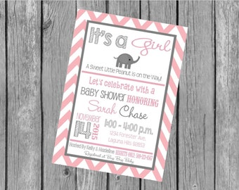 """Customized 5x7"""" Printable OR Printed Invitation WITH Envelopes - Pink Grey Chevron Elephant - Or Match ANY theme in my Shop"""